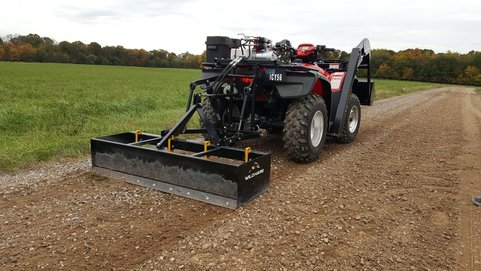 wildhare hydraulic 3-point linkage leveller fitted to quad bike levelling gravel driveway