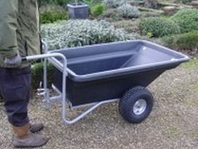 garden trailer being pushed