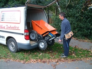 muck truck power barrow can easily be loaded and unloaded from a van