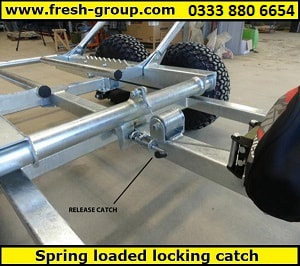 ATV bale trailer with spring loaded catch