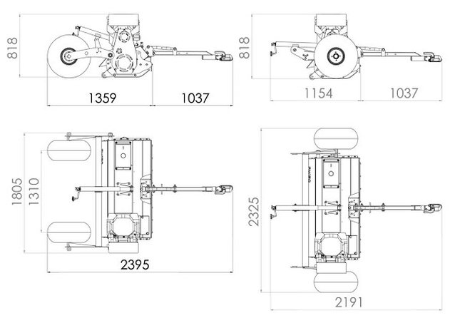 fm150 flail mower dimension drawing