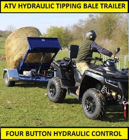 ATV bale trailer with hydraulic tipping action