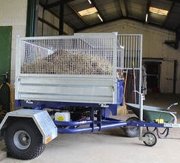ATV bale trailer with mesh sides