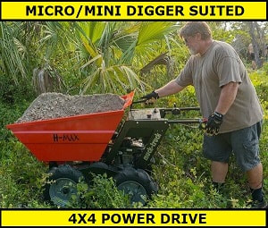 the H max power barrow works well with mini diggers