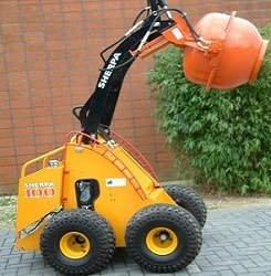 mini skid steer 100 diesel with concrete mixer attachment