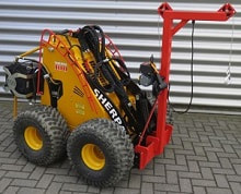 mini skid steer with mast and electric winch attachments