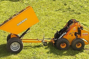 mini skid steer dumper filled with soil