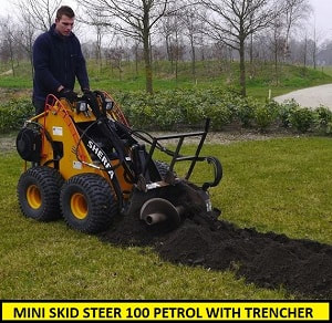 mini skid steer petrol with trencher