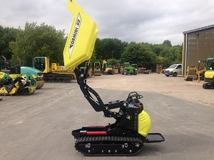 mini tracked power barrow with high tip skip