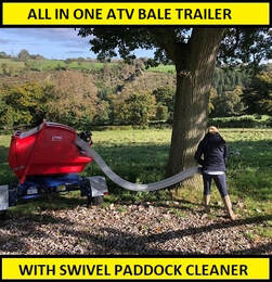 atv bale trailer with mounted swivel paddock cleaner