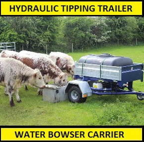 quad tipping trailer water bowser carrier