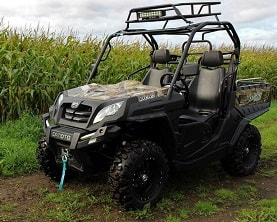 utility vehicle with top rack and LED lights