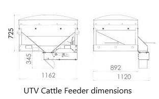 utv vehicle cattle feeder dimensions